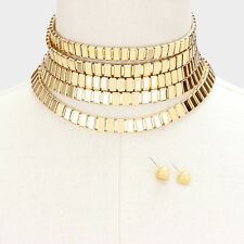"13"" gold multi tier choker collar bib layered necklace .25"" earrings 2"" wide 77"