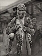 1928 Original INDIA Peshawar Bazaar Mendicant Monk Market Photo Art By HURLIMANN