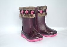 Laura Ashley Toddler Girls Boots SIZE 8 Burgundy Faux Fur Pink Flovers Zipper
