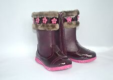 Laura Ashley Toddler Girls Boots SIZE 9 Burgundy Faux Fur Pink Flowers Zipper
