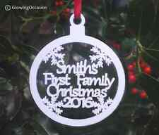 Personalised First 1st Our Name Family Christmas Xmas Tree Decoration Bauble