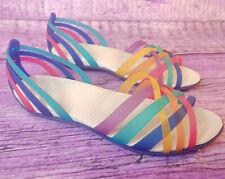 CROCS Rainbow Isabella Strappy Flat Jelly Huarache Sandals Slip On Women Size 7