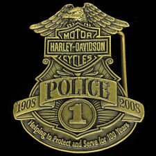 Harley Davidson Motorcycle Police Badge Rare Biker Brass Tone NOS Belt Buckle