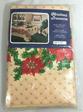 Vintage Christmas Treasures Tablecloth Flannel Backing Made in USA New Old Stock
