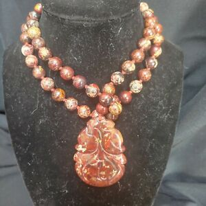 Asian designed ocean jasper necklace with large jasper pendant
