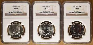 1965 1966 & 1967 SMS Kennedy Half Dollars NGC MS66