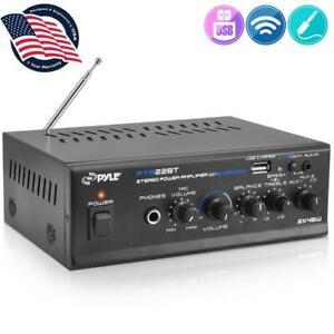 Pyle PTA22BT Mini Amplificador Receptor Hifi Bluetooth Reproductor USB/MP3 y FM