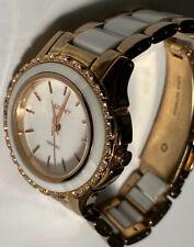 Beautiful DKNY NY8821 Women's Ladies CERAMIC White Face Wrist Watch -New Battery
