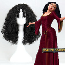 """16"""" Black Tangled Mother Gothel Cosplay Party Hair Full Curly Afro Wigs+A Cap"""