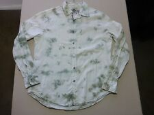 085 MENS NWOT GUESS WHITE STRIPE / SAGE TIE DYE EFFECT L/S SHIRT LRG $130 RRP.