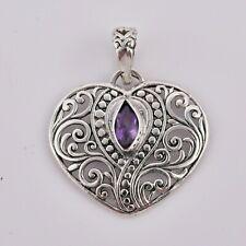 BALI Designer AMETHYST HEART Pendant  925 Sterling Silver- 3.2 Cm #O19