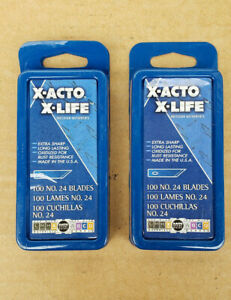 LOT OF 2 - X-ACTO X-LIFE Blades X624 #24 Blades (pkg/100)