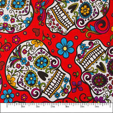 100% Cotton Print Fabric Skulls and Flowers Red by the yard