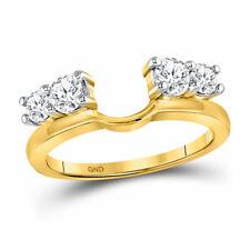 14kt Yellow Gold Round Diamond Solitaire Enhancer Wedding Band 3/4 Cttw