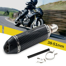 38-51mm Carbon Fiber Motorcycle GP Bike Exhaust Muffler Pipe Movable Silencer UK
