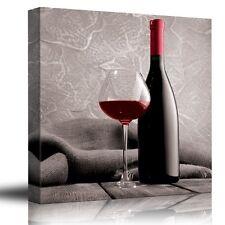 Deep red wine - Cabernet - Merlot - Shiraz - Bottle and Glass - Canvas Art-12x12