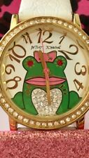Whimsical Betsey Johnson Watch Frog With Rhinestones Around The Watch And Frog