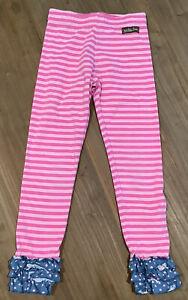 Matilda Jane Make Believe Between The Pages Ruffled Leggings Girls 6 Pink Stripe