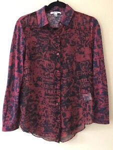 Carven Women's Size Small S Graffiti Print Top Shirt Blouse Silk Designer