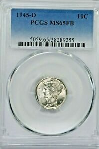 1945-D 10C Mercury Silver Dime PCGS MS65FB (SI:Y-9255) 99c NO RESERVE