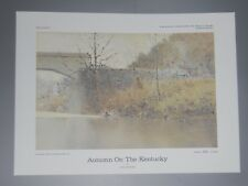 "Paul Sawyier print /""Autumn On The Kentucky/"" Camp Nelson Covered Bridge numbered"