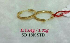 GoldNMore: 18K Gold Earrings YG with russian s.