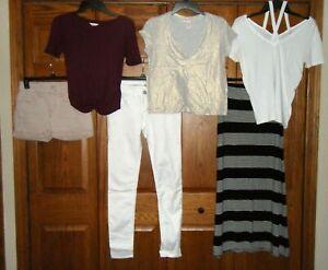 Lot of 6 - Juniors Summer Tops + Maxi Skirt + Denim Jeggings + Shorts Sz XS / 3