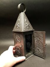 "12 1/4"" Vintage Antique Style Punched Tin Iron Candle Lamp"
