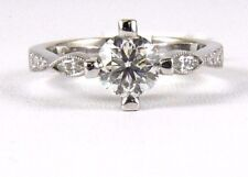 1.37Ct SI1 Natural Round Diamond Solitaire Lady's Ring 18k White Gold