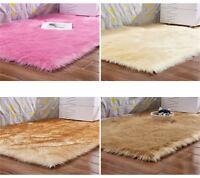 Faux Fur Sheepskin Rug Plain Soft Chair Seat Cover Non Slip Fluffy Carpet Mats