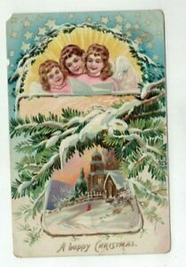 Antique embossed Tuck Christmas Post Card - Winged Angel Heads Church Snow