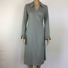 Boden Blue & Brown Circle Pattern Stretch Wrap Dress Size 14R (AL19)