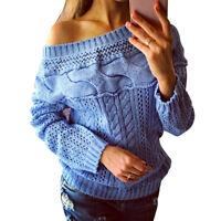 Hiver Femme Hors épaule à Manches Longues Pulls Chandail Tricot Pullover Hauts