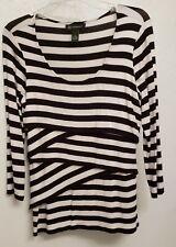 INC 3/4 Sleeve Top (Black/White) - Size M