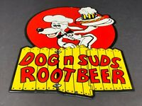 "VINTAGE DOG N SUDS ROOT BEER 11"" METAL DINER RESTAURANT SODA POP GAS OIL SIGN"