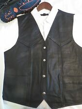 Mens Brown or Black - XL Genuine Leather Vest, Adj Back