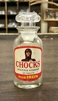 Vintage Chocks Vitamin Glass Bottle Container w/ Plunger Top Lid Stopper 60s