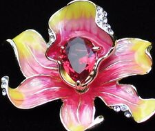 "PINK YELLOW RHINESTONE ROSE LILY IRIS ORCHID FLOWER PIN BROOCH JEWELRY 2"" 3D"