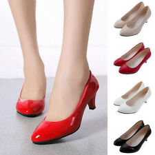 New Womens Ladies Low Mid High Kitten Heel Work Party Casual Shoes Pumps UK3-9