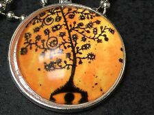 "Tree of Life Charm Tibetan Silver with 18"" Necklace T3 Autumn Glow"