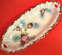 "WEIMAR GERMANY RELISH DISH HAND PAINTED 9 1/2""  FLORAL GOLD TRIM ANTIQUE CRIMPED"