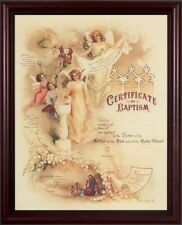 """Certificate of Baptism Cherry Framed 8""""X10"""" NEW - FREE US Shipping!"""