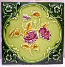 TILE VINTAGE PORCELAIN ROSE PURPLE ENGLAND ART NOUVEAU MAJOLICA COLLECTIBLES#109