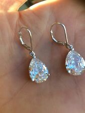 CZ TEARDROP BRIDAL EARRINGS STERLING SILVER LEVERBACK AAA CUBIC ZIRCONIA CLASSIC