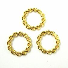 Vermeil Sterling Silver Twisted Connector Ring- Twisted Gold Link-11.5 mm(3 pcs)