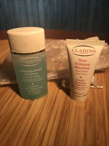 CLARINS Gentle Foaming Cleanser & instant eye makeup remover .7oz & 1 oz.