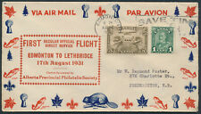 1931 AAMC #3153b, Aug 17 Edmonton to Lethbridge with Cachet, Air Mail Envelope