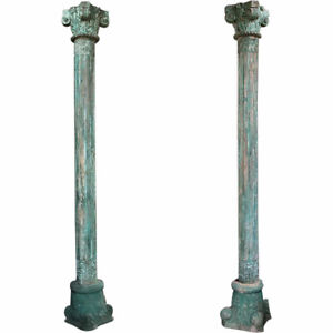 Pair Antique Anglo Indian Green Painted Teak and Limestone Columns 19th century