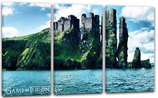 120x80cm Lein-Wand-Bild: Game of Thrones große Burg auf Insel im Meer Fantasy Ti