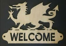 Bespoke wood Welsh Dragon sign saying 'Croeso (Welcome) door gate Wales 3 mm